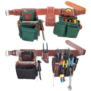 Contractor Leather Tool Belt Loops Slots Pocket Hammer Holder Holster Bit Pouch