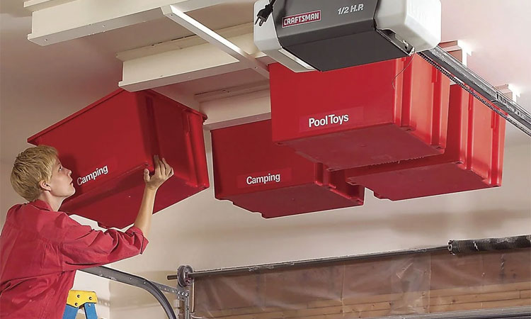 DIY overhead bin storage idea