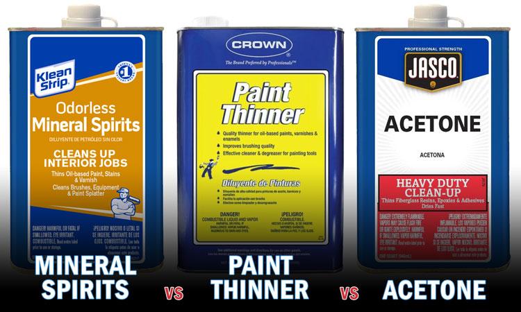 mineral spirits vs paint thinner vs acetone