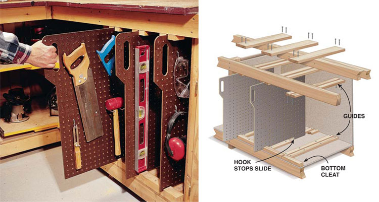 pegboard slide out tool storage